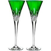 Waterford Lismore Pops Emerald Crystal Toasting Flute 2 pk.