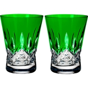 Waterford Lismore Pops Emerald Double Old Fashioned Glass 2 pk.