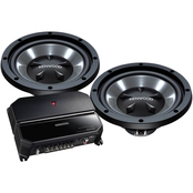 Kenwood 10 in. Bass Party Pack with 2-Channel Amp and 2 Subwoofers