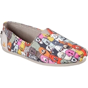Skechers Bobs Women's Plush Dog Party Print Slip On Shoes