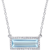 Sofia B. Sterling Silver Baguette Cut Blue Topaz and White Sapphire Halo Necklace
