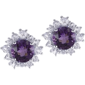 Amethyst and White Topaz Earrings