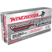 Winchester Varmint X .22-250 38 Gr. Lead Free Hollow Point, 20 Rounds