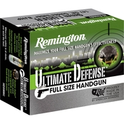 Remington Ultimate Defense 9mm+P 124 Gr. Brass Jacketed Hollow Point, 20 Rounds