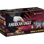 Federal American Eagle Varmint & Predator .243 Win 75 Gr. JHP, 40 Rounds