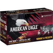 Federal American Eagle Varmint & Predator .308 Win 130 Gr. JHP, 40 Rounds