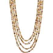 Sterling Silver 19 In. Multi Strand Bronze Freshwater Pearl Necklace
