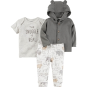 Carter's Infant Boy 3 Pc. Baby Soft Snuggle Is Real Little Jacket Set