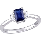 Sofia B. 14K White Gold Blue and White Sapphire 3 Stone Engagement Ring