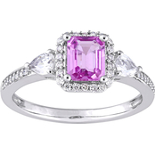 Sofia B. 14K White Gold Pink and White Sapphire Diamond Accent Halo Engagement Ring