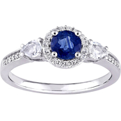 Sofia B 14K White Gold Blue and White Sapphire Diamond Accent  Halo Engagement Ring