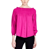 Lauren Ralph Lauren Petite Quarida Knit Smocked Off the Shoulder Top