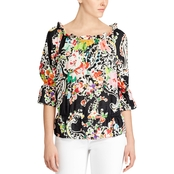 Lauren Ralph Lauren Petite Ordisty Paisley Crepe Off the Shoulder Top