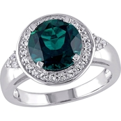 Sofia B. Sterling Silver Created Emerald and Created White Sapphire Halo Ring