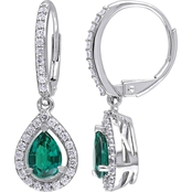 Sofia B. Sterling Silver Created Emerald and Created White Sapphire Dangle Earrings