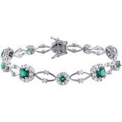 Sofia B. Sterling Silver Created Emerald and Created White Sapphire Floral Bracelet