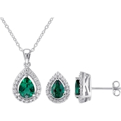 Sofia B. Sterling Silver Created Emerald and Created White Sapphire Pendant Set