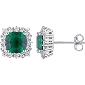 Sofia B. Sterling Silver Created Emerald and Created White Sapphire Halo Earrings