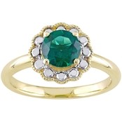 10K Two Tone Gold Created Emerald Halo Flower Birthstone Ring