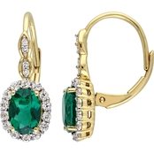 14K Yellow Gold Diamond Accent Created Emerald White Topaz Vintage Earrings