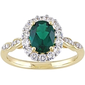 Sofia B. 14K Yellow Gold Diamond Accent Created Emerald White Topaz Vintage Ring