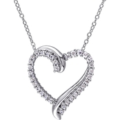 Sofia B. Sterling Silver 3/4 CTW Created White Sapphire Heart Necklace