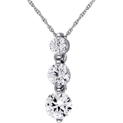 Sofia B. 10K White Gold 2 CTW Created White Sapphire Graduated 3-Stone Necklace