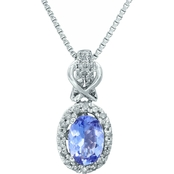 10K White Gold 1/7 CTW Diamond and Tanzanite Pendant