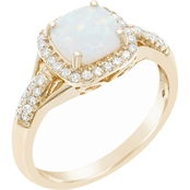 10K Yellow Gold 1/4 CTW Diamond and Created Opal Ring