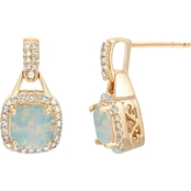 10K Yellow Gold 1/3 CTW Diamond and Created Opal Earrings