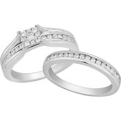 Sterling Silver 1/2 CTW Diamond Bridal Set, Size 7