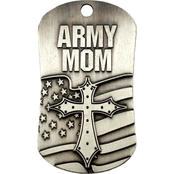 Shields of Strength Military Mom Antique Dog Tag Necklace, 1 Corinthians 13:7-8