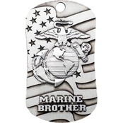 Shields of Strength Marine Brother Antique Dog Tag Necklace, 2 Chronicles 32:8