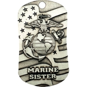 Shields of Strength Marine Sister Antique Dog Tag Necklace, I Corinthians 13:7-8