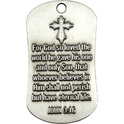 Shields of Strength John 3:16 Antique Finish Dog Tag Necklace