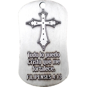 Shields of Strength Phil 4:13 Spanish Antique Finish Dog Tag Necklace
