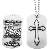 Shields of Strength Philippians 4:13 Antique Finish Dog Tag with Cross Necklace