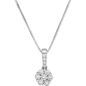 10K White Gold 1/4 CTW Diamond & Gold Floral Pendant, 18 in.