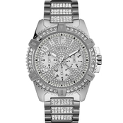 Guess Men's Crystal Accent Silver Tone Stainless Steel Watch U0799G1