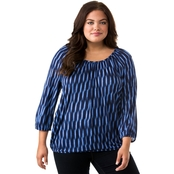 Michael Kors Plus Size Sari Peasant Top