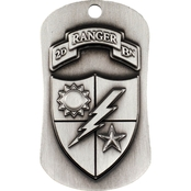 Shields of Strength Ranger 2D BN Antique Finish Dog Tag Necklace, Joshua 1:9