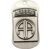 Shields of Strength 82nd Airborne Antique Finish Dog Tag Necklace, Joshua 1:9