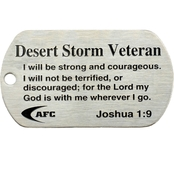 Shields of Strength Desert Storm Veteran Dog Tag Necklace, Joshua 1:9