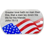 Shields of Strength John Flag Stainless Steel Dog Tag Necklace, John 15:13