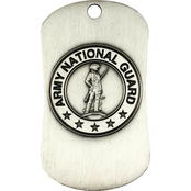 Shields of Strength National Guard Antique Finish Dog Tag Necklace, Joshua 1: