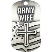 Shields of Strength Army Wife Antique Finish Dog Tag Necklace, 1 Corinthians 13:7-8