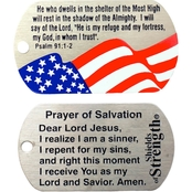 Shields of Strength Flag Christian Stainless Steel Dog Tag Necklace, Psalm 91:1-2