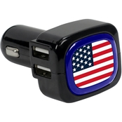 QuikVolt US Flag 4-Port USB Car Charger