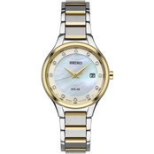 Seiko Women's Dress Solar Diamond-Accent Stainless Steel Bracelet Watch