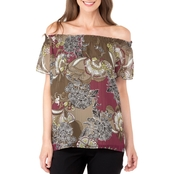 Jones New York Floral Garden Print Off Shoulder Flare Sleeve Top